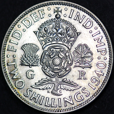 1940 George VI Silver Florin - Extremely High Grade and Toned, scarcer date