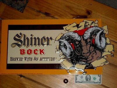 Shiner Bock beer sign Tin Tacker 2012 Brewed with an attitude Shiner Texas BIG