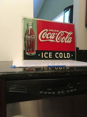 "Coca Cola 1937 Metal Embossed Advertising Sign ""Ice Cold"""