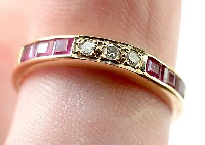 9ct gold ring size m with diamond and ruby channel band design