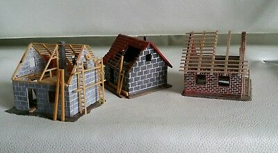 Three buildings under construction with accessories HO OO gauge  by R&M