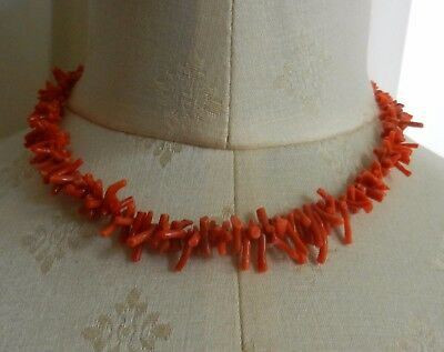 Vintage Genuine Red Salmon Branch Coral Necklace