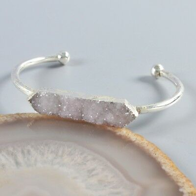 Natural Agate Druzy Geode Bangle Silver Plated H103737