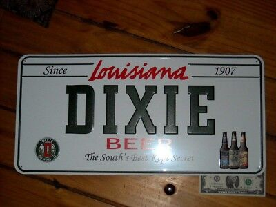 Dixie Beer Sign license plate Tin Tacker Louisiana since 1907 Dixie Brewing Co.