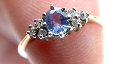 9ct Gold Ceylon Blue Sapphire Ring size L with diamond accents.