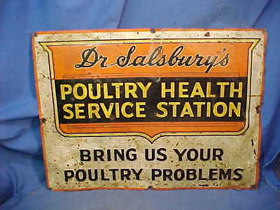 1930s DR SALSBURYS POULTRY HEALTH Service Station TIN VETERINARIAN Medicine SIGN