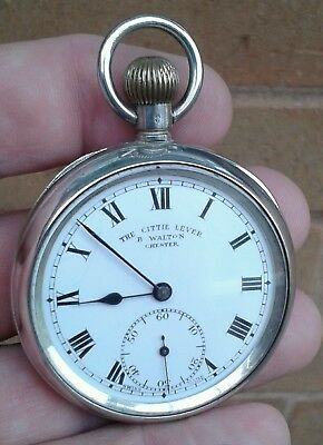 """Antique B.walton Of Chester, Solid Silver """"the Cittie Lever"""" Pocket Watch, 1919."""
