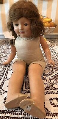 "VINTAGE HORSEMAN  23"" COMPOSITION  DOLL eyes open & close open mouth with teeth"
