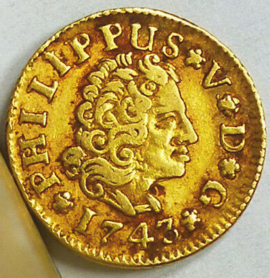 Spain Gold Half Escudo 1743 S-PJ Very Fine