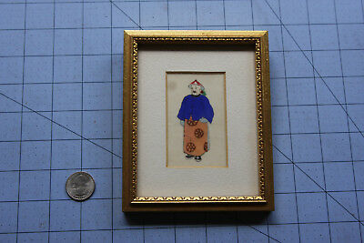 Vintage Antique Chinese Painting Full Portrait Priest on Pith Rice Paper China