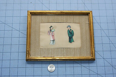 Vintage Antique Chinese Painting Full Portrait Man Woman Pith Rice Paper China