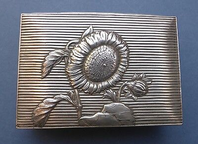 Beautiful Antique Aesthetic Sunflower Trinket Box 1890s Silver Plated ?