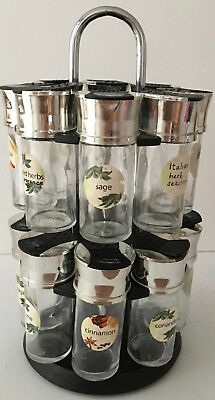 Rotating Herb and Spice Rack 16 Piece Revolving Carousel with Glass Jars
