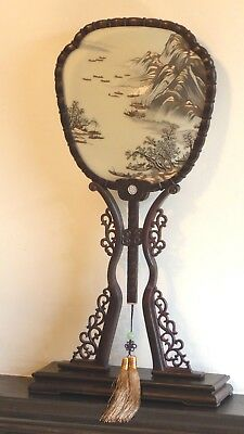 Chinese Double-sided hand embroidered silk fan with carved rosewood frame
