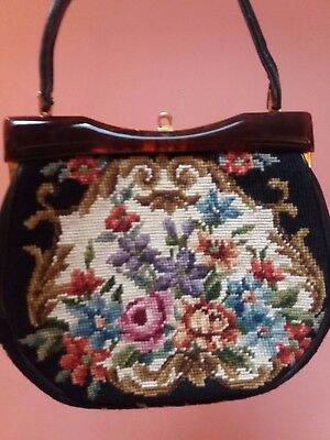 VINTAGE TAPESTRY NEEDLEPOINT EMBROIDERY HANDBAG LARGE 1930s shabby chic roses