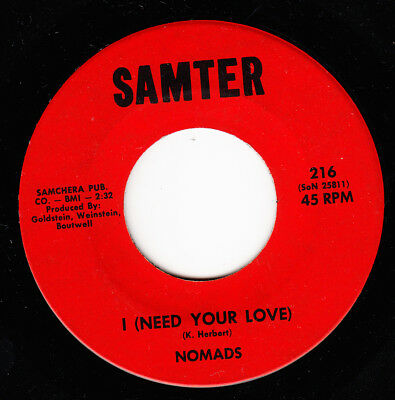 Nomads *i Need Your Love/ Please Be True* 1965 Us  Beat Garage Rock  N Mint