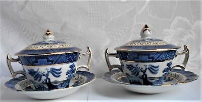 RARE !!  Booth's Real Old Willow: 2 covered bowls with saucers