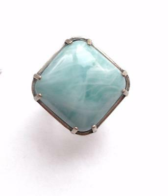 Vintage 80's Silver Tone Blue Marbleized Square Lucite Statement Cocktail Ring
