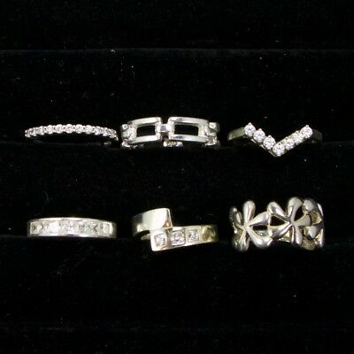 Sterling Silver - Lot of 6 Solid & Gemstone Rings Resell NOT SCRAP - 21g