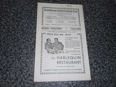 SCUNTHORPE UNITED  v  HARTLEPOOLS UNITED  1955/6  DIVISION 3 (NORTH) ~ FEB 11th