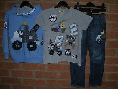 NEXT Boys Matching Outfit Hooded Jumper T-Shirts Tops Shirt Jeans Age 4-5 TRUCKS