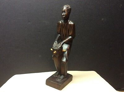 "Vintage Hand Carved Wood African Drummer Statue - Signed ""H. Romnus"""