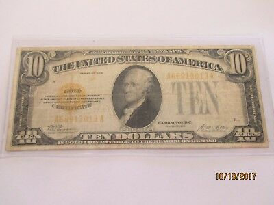 1928 US United States Gold Certificate Yellow Seal $10 Currency Note!