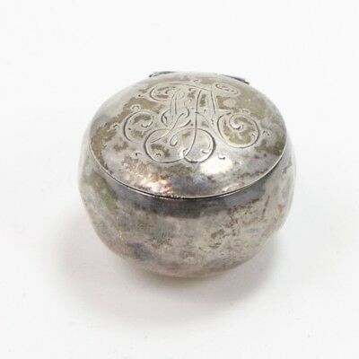 VTG Sterling Silver - British Levi & Salaman Hammered Engraved Pill Box - 23g