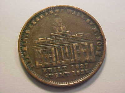 Hard Times Token  MERCHANTS EXCHANGE BUILT 1827 BURNT 1835 / MILLIONS 4 DEFENSE