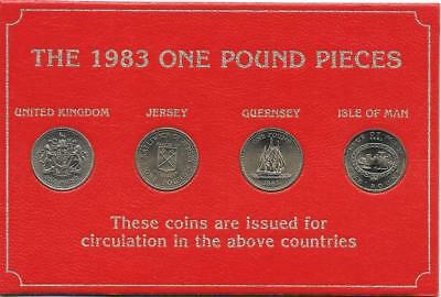 Great Britain 1983 £1 Uncirculated Set of 4 Coins in Case Jersey Guernsey UK IOM