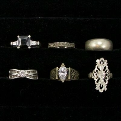Sterling Silver - Lot of 6 Solid & Gemstone Rings Resell NOT SCRAP - 22g