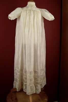 ANTIQUE/VINTAGE CREAM SILK BABY GOWN DRESS Lace Trim #8