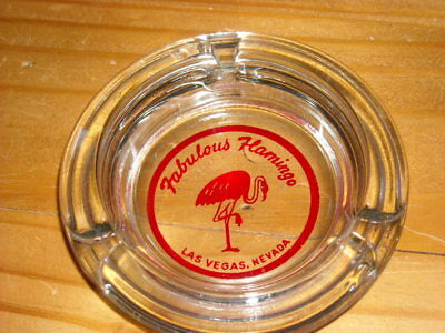 Vintage Flamingo Casino Ashtray Las Vegas Casino clear glass Pink Graphics