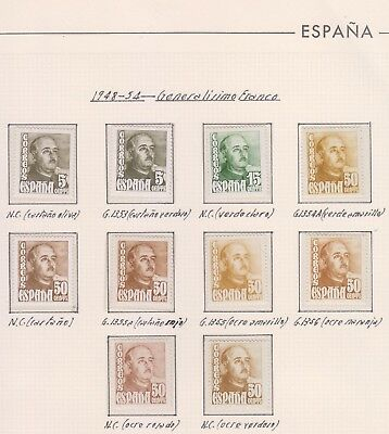 1948.Lote: General Franco. 10 valores de diversas variedades de color.**