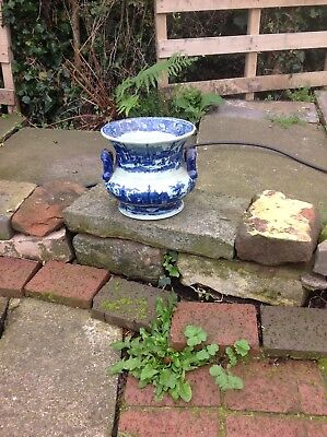 victorian blue & white large chamber pot