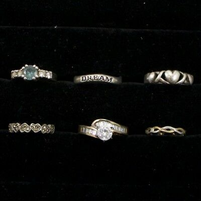 Sterling Silver - Lot of 6 Solid & Gemstone Rings Resell NOT SCRAP - 13g