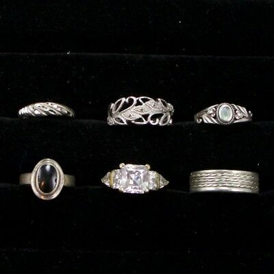 Sterling Silver - Lot of 6 Solid & Gemstone Rings Resell NOT SCRAP - 19g