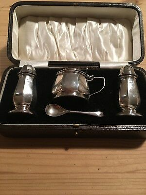 Solid Silver Condiment Boxed Hallmarked