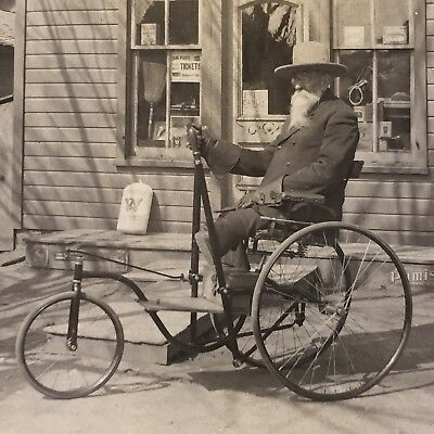Leg Amputee in Wheelchair by Country Store - Civil War Veteran? - Two Vtg Photos
