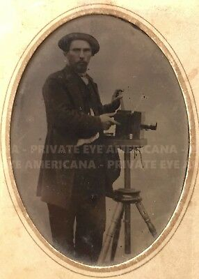 Photographer & Camera 1860s Tintype - Daguerreotype Tripod Studio Antique Photo