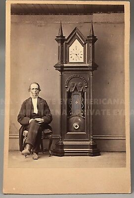Civil War Clock & Vermont Inventor Russell D Munson - Antique Cabinet Card Photo