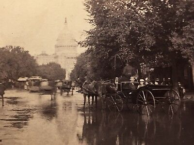 Washington DC 1889 Flood - Capitol Building - Peachy Family - Vtg Antique Photo