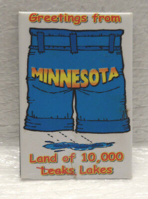 WTBI Souvenir MN Greetings From Minnesota Land of Leaks Lakes Funny Gift Magnet