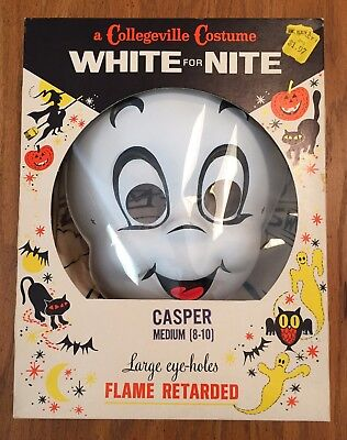 Collegeville Casper The Ghost White For Nite Halloween Costume Box Mask & Suit