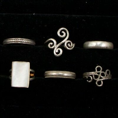 Sterling Silver - Lot of 6 Solid & Gemstone Rings Resell NOT SCRAP - 18g