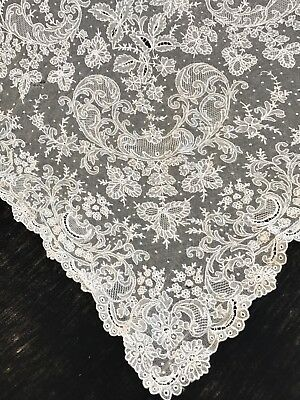 Antique French Net Lace Yardage-Bridal Lace-Tambour-Floral 1920's Lot #2