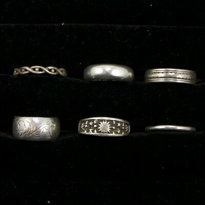 Sterling Silver - Lot of 6 Solid & Gemstone Rings Resell NOT SCRAP - 29g