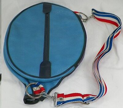 Vintage 1973 Blue Naugahyde Tennis Racquet Cover With Strap And Two Pockets