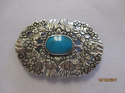 """Sterling Silver Pendant Brooch Turquoise 1-1/2""""L"""
