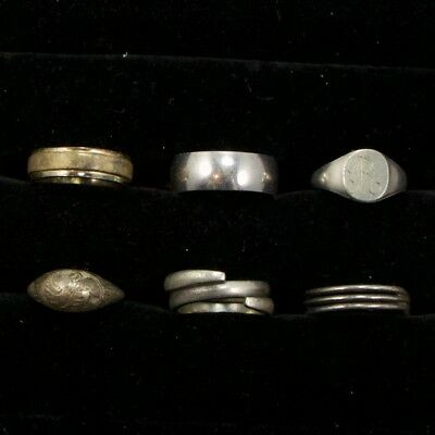 Sterling Silver - Lot of 6 Solid & Gemstone Rings Resell NOT SCRAP - 16g